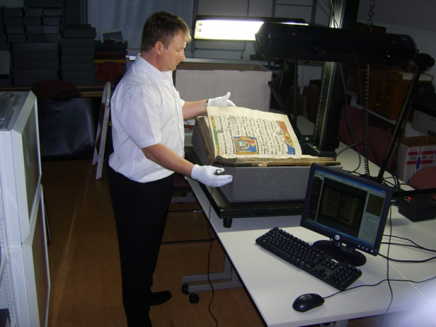 Paul Sugden working on TownsWeb Archiving's first digitisation project
