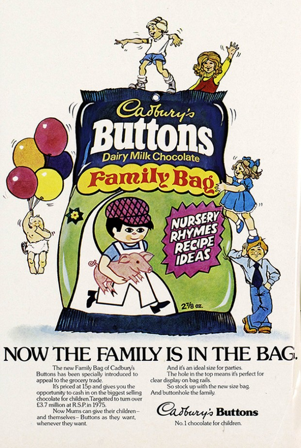 1970s Dairy Milk Buttons print advert digitised from Cadbury's archives