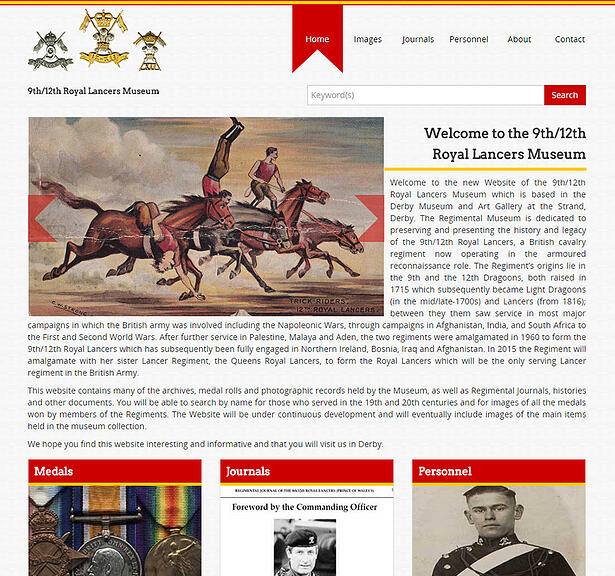 9th12th Royal Lancers Museum digital archive homepage