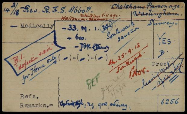 Army Chaplaincy index card