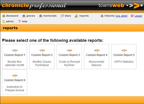 Chronicle Pro Reports page