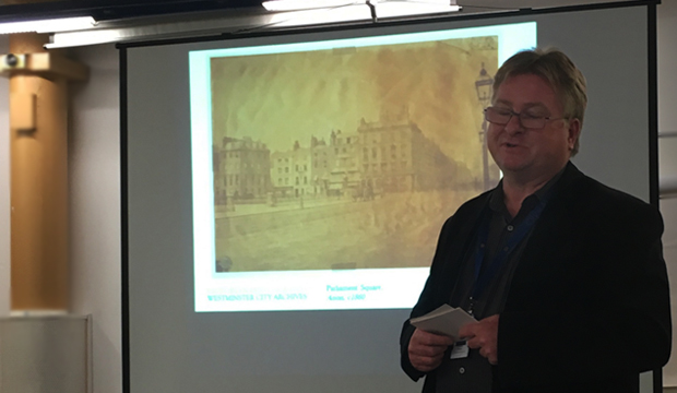 Adrian Autton at Westminster Archives presenting digitised Victorian photographs