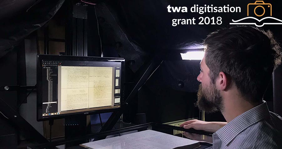 TWA_Digitisation_Grant_2018_Robin_scanning_book