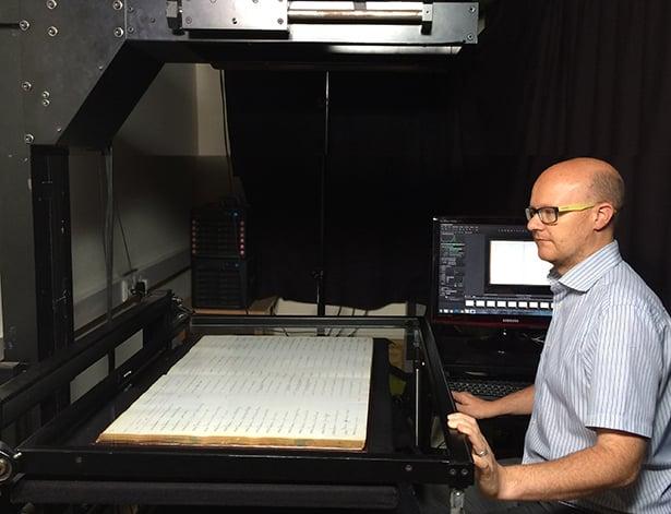 Scanning grave registers using large format digitisation equipment