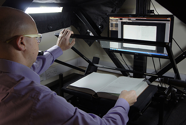 Bound book being digitised