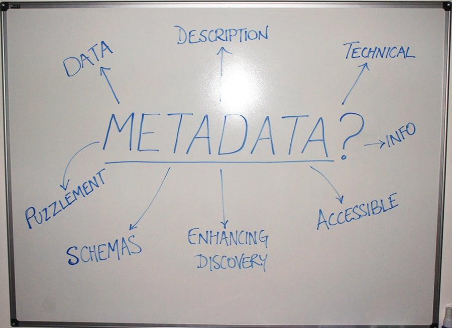 Metadata in digital archives whiteboard - Technical metadata, enhancing discovery, metadata schemas