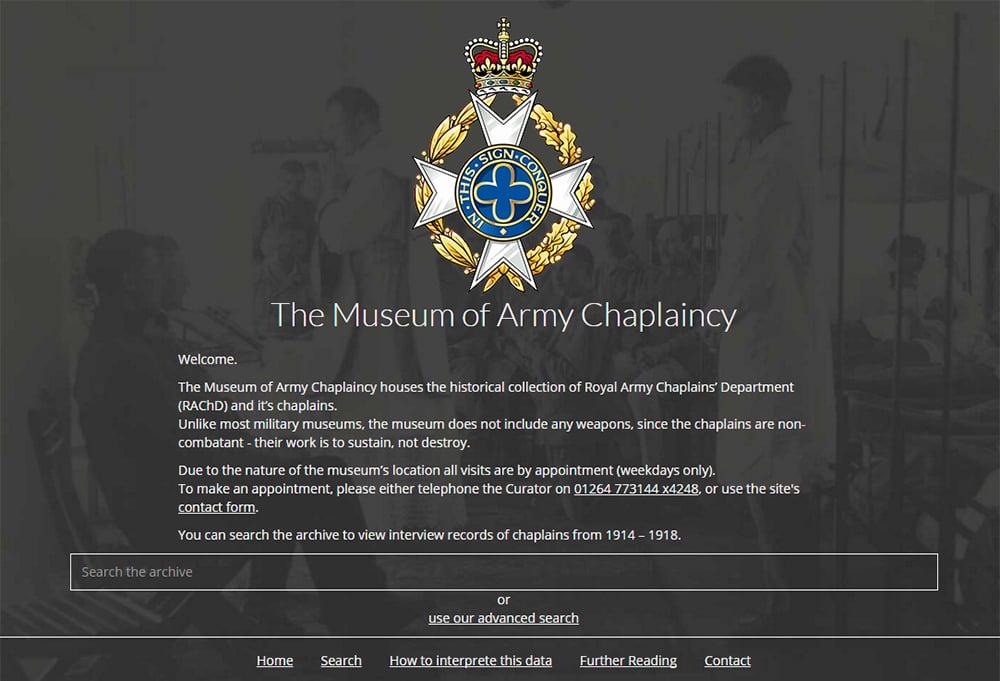 Museum of Army Chaplaincy digital archive homepage screenshot