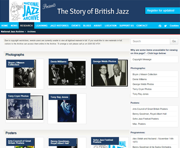 The National Jazz Archive website