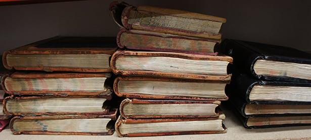 Fragile burial register archive